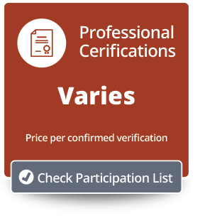 Professional Certifications Pricing/Participation Button